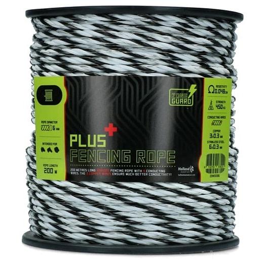 ZoneGuard 6 mm Plus Zaunseil schwarz und weiß 200 m